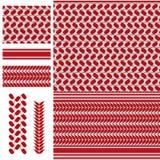 Teste padrão sem emenda branco vermelho de Palestina Keffieh Fotografia de Stock Royalty Free