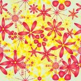 Teste padrão sem emenda brilhante amarelo vermelho da flor Imagens de Stock Royalty Free