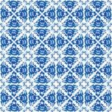 Teste padrão sem emenda chique gasto do vintage com flores e as folhas azuis Vetor Imagem de Stock Royalty Free