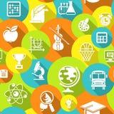 Teste padrão sem emenda colorido dos ícones redondos da escola Imagem de Stock