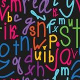 Teste padrão sem emenda com alfabeto da escrita, mão do vetor tirada Imagens de Stock Royalty Free