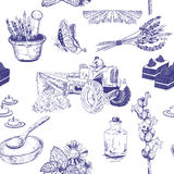 Teste padrão sem emenda com as flores da alfazema ajustadas Imagens de Stock