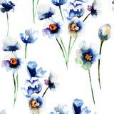Teste padrão sem emenda com as flores selvagens azuis Foto de Stock
