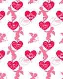 Teste padrão sem emenda com as silhuetas do anjo e do coração, calligraph Imagens de Stock Royalty Free