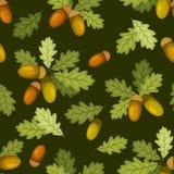 Teste padrão sem emenda com bolotas e folhas do carvalho Ilustração do vetor Fotos de Stock Royalty Free