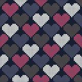 Teste padrão sem emenda com corações do pixel Fotografia de Stock Royalty Free
