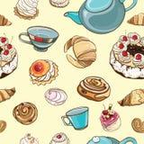 Teste padrão sem emenda com cozimento, pastelarias, bolos, chá Fotografia de Stock Royalty Free