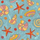 Teste padrão sem emenda com escudos e starfish Foto de Stock