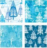 Teste padrão sem emenda com floresta do inverno Imagens de Stock Royalty Free