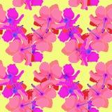 Teste padrão sem emenda com o hibiscus no fundo amarelo Illu do vetor Imagem de Stock Royalty Free