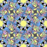 Teste padrão sem emenda com os círculos azuis que dançam o papagaio das Caraíbas do divertimento Imagem de Stock