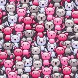 Teste padrão sem emenda com os gatos bonitos da garatuja do kawaii Foto de Stock Royalty Free