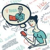 Teste padrão sem emenda com os povos no assunto do Internet Imagem de Stock Royalty Free