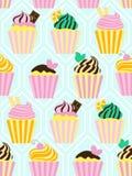 Teste padrão sem emenda com os queques doces diferentes Foto de Stock Royalty Free