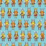 Teste padrão sem emenda com os viquingues perigosos mal-humorados Fotos de Stock Royalty Free