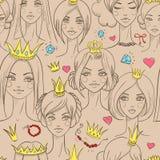 Teste padrão sem emenda com princesas bonitas Foto de Stock