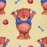 Teste padrão sem emenda com urso bonito e mudo-sinos Foto de Stock