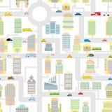 Teste padrão sem emenda da cidade da manhã Mapa bonito dos desenhos animados da textura para o bab Fotos de Stock Royalty Free