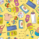 Teste padrão sem emenda da coisa do bebê dos desenhos animados Fotos de Stock Royalty Free