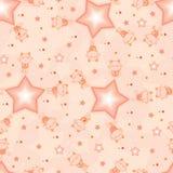 Teste padrão sem emenda da cor alaranjada da estrela do divertimento do gato Imagens de Stock