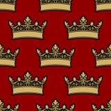 Teste padrão sem emenda da coroa heráldica Foto de Stock Royalty Free