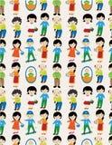 Teste padrão sem emenda da família dos desenhos animados Foto de Stock