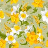 Teste padrão sem emenda da flor retro - narcisos amarelos Imagem de Stock Royalty Free