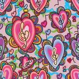 Teste padrão sem emenda da flor surpreendente da música do amor da benevolência Fotos de Stock Royalty Free