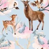 Teste padrão sem emenda da floresta do inverno Imagens de Stock Royalty Free