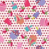 Teste padrão sem emenda da sobremesa do bolo dos desenhos animados Fotos de Stock Royalty Free