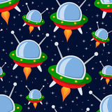 Teste padrão sem emenda das naves espaciais dos desenhos animados Fotos de Stock