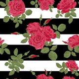 Teste padrão sem emenda das rosas vermelhas da flor com listras horizontais Fotografia de Stock Royalty Free