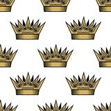 Teste padrão sem emenda de coroas reais douradas Imagens de Stock Royalty Free