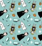 Teste padrão sem emenda de Dia das Bruxas Fundo do vetor com as crianças nos trajes Imagens de Stock Royalty Free