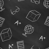 Teste padrão sem emenda de volta à escola Quadro-negro preto do vetor escrito com giz branco Imagem de Stock