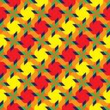 Teste padrão sem emenda decorativo à moda com formas geométricas diferentes de máscaras amarelas, alaranjadas, verdes, vermelhas  Imagem de Stock