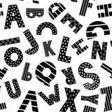 Teste padrão sem emenda do alfabeto preto e branco dos desenhos animados Fotos de Stock