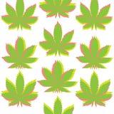 Teste padrão sem emenda do anaglef da marijuana de Ganja Imagens de Stock Royalty Free