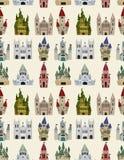 Teste padrão sem emenda do castelo do conto de fadas dos desenhos animados Fotografia de Stock Royalty Free