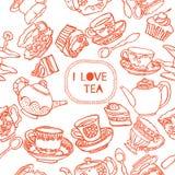 Teste padrão sem emenda do chá Fotografia de Stock