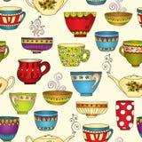 Teste padrão sem emenda do chá com bules e copos da garatuja Fotografia de Stock Royalty Free