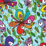 Teste padrão sem emenda do céu funky da mosca da mascote da flor Foto de Stock Royalty Free