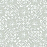 Teste padrão sem emenda do damasco do cinza de prata e do branco Estilo antigo vitoriano, ornamento luxuoso Imagem de Stock Royalty Free