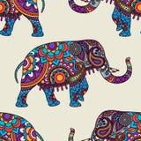 Teste padrão sem emenda do elefante indiano da garatuja Fotos de Stock