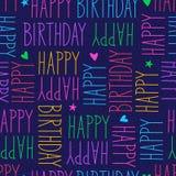 Teste padrão sem emenda do feliz aniversario Imagens de Stock