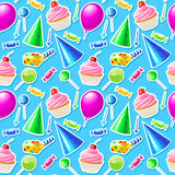 Teste padrão sem emenda do feliz aniversario Vetor Foto de Stock Royalty Free