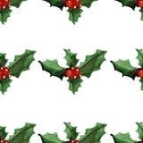 Teste padrão sem emenda do Feliz Natal alegre do azevinho Imagem de Stock