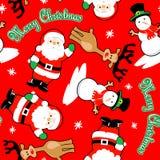 Teste padrão sem emenda do Feliz Natal de Santa e de amigos Foto de Stock