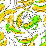 Teste padrão sem emenda do fruto engraçado da banana Fotografia de Stock