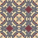 Teste padrão sem emenda do fundo da telha do vintage em cores douradas, cinzentas, vinous Imagem de Stock